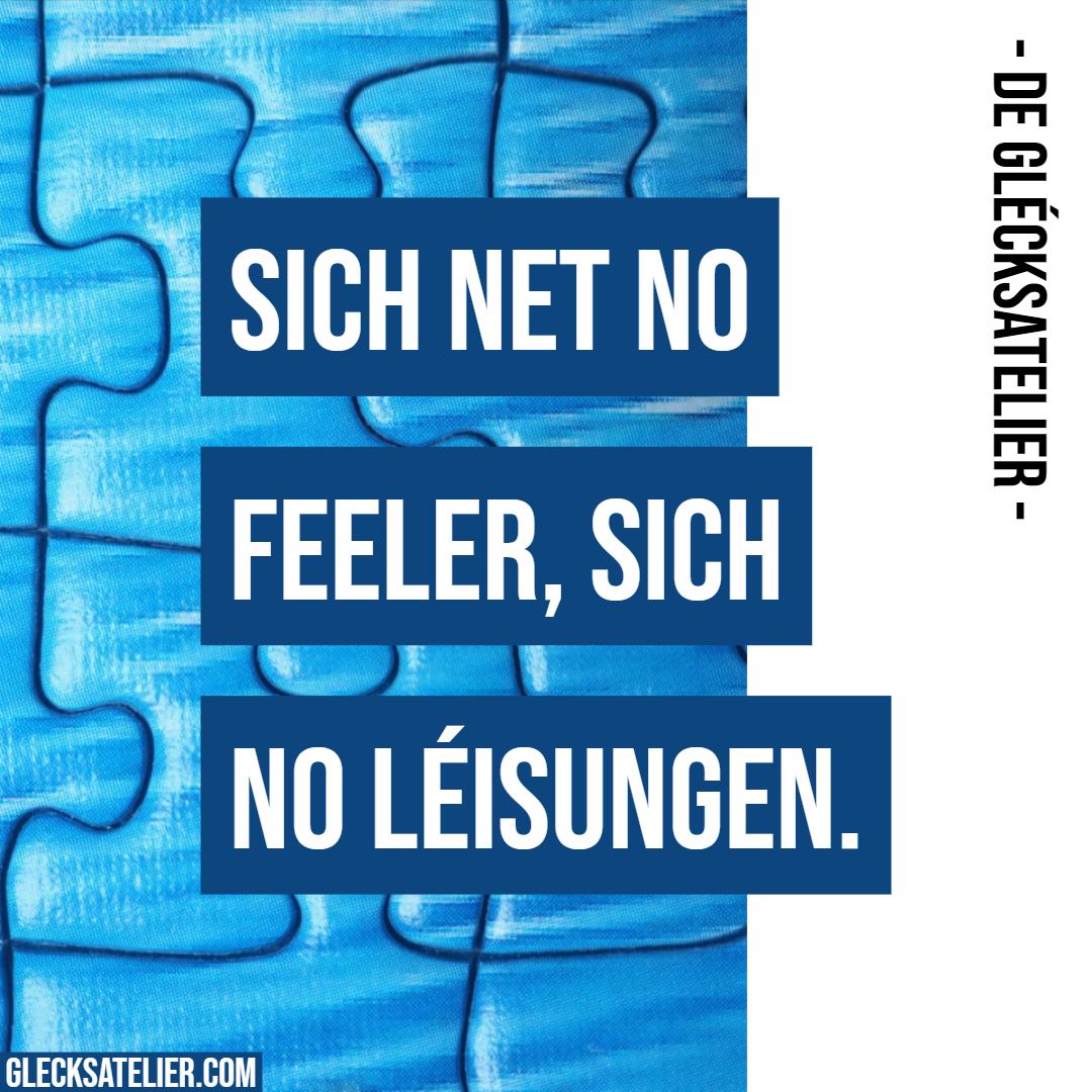 Sich net no Feeler, sich no Léisungen. Suche nicht nach Fehlern, suche nach Lösungen. Don't find fault, find a remedy. Henry Ford