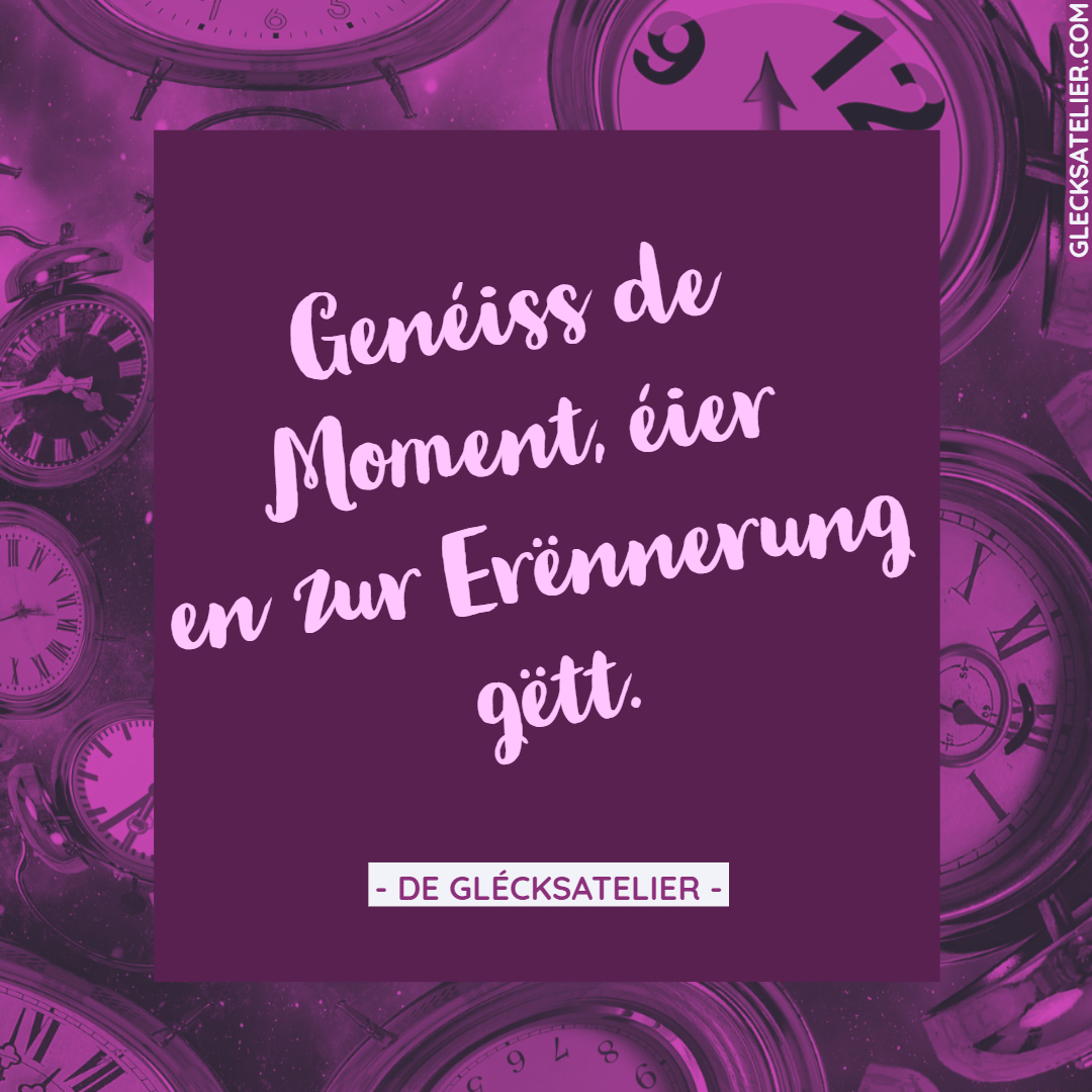 Genéiss de Moment, éier en zur Erënnerung gëtt.	Genieße den Moment, bevor er zur Erinnerung wird. Cherish every moment before it becomes a memory. Enjoy the moment before it becomes a memory.