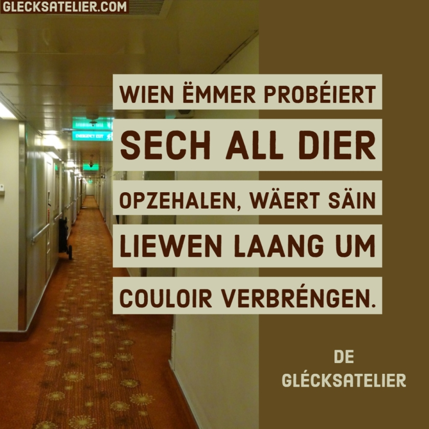 Wien ëmmer probéiert sech all Dier opzehalen, wäert säin Liewen laang um Couloir verbréngen. Wer ständig versucht, sich immer alle Türen offen zu halten, wird sein Leben auf dem Flur verbringen.