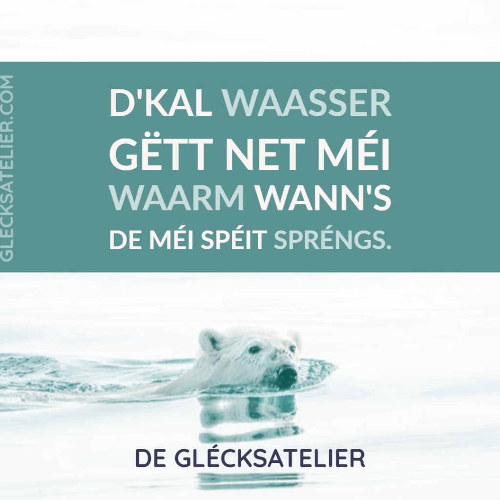 D'kal Waasser gëtt net méi waarm wann's de méi spéit spréngs. Das kalte Wasser wird nicht wärmer, wenn man später springt. Der Sprung ins kalte Wasser fühlt sich nicht wärmer an, wenn man später springt. The jump into the cold water does not feel warmer if you jump later. Susann Hoffmann